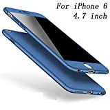 Coque iPhone 6S Coque iPhone 6 360 Protection PC 3 en 1 Full Cover Adamark Housse Integrale Bumper Etui Case Protège Écran en Verre Trempé Pour iPhone 6S/6 (Bleu)