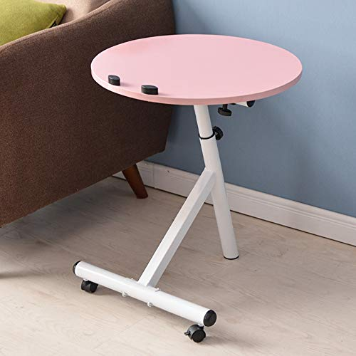 YNN Table Table d'appoint de Table d'angle Moderne Ronde Simple de Salon Table d'appoint de canapé Mobile Petite Table (Couleur : Pink)