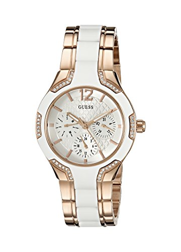 GUESS Women's U0556L3 Stainless Steel Rose Gold-Tone & White Multi-Function Watch