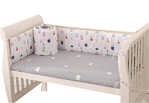 Baby Infant Crib Bumper Pads Bed Cotton Safety Rail Guard Breathable, Cradle Protector, Cot Sleep Bumper Pillow, Machine Washable, Bed Sheet, 4-Sides Coverage, 111×63,B1