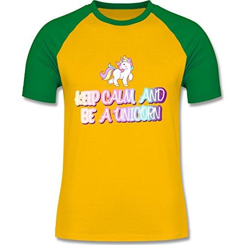 Nerds & Geeks - Keep Calm and be a unicorn - zweifarbiges Baseballshirt für Männer Gelb/Grün