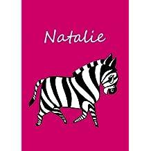 personalisiertes Malbuch / Notizbuch / Tagebuch - Natalie: Zebra - A4 - blanko