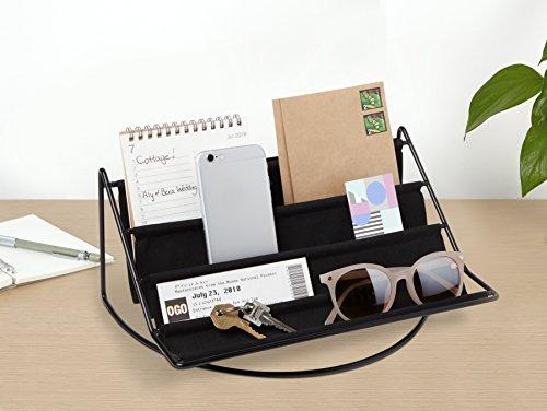 UMBRA Hammock. Organiseur d'entrée ou de bureau. Rangement en tissu pour clefs, lunettes, téléphone, tablette, cartes et autres accessoires. Dimension 31x18.3x13.4cm.