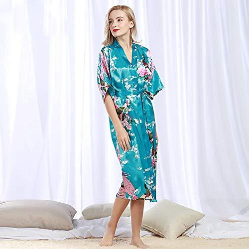 b9884c2f1 LQY-Z Albornoz Albornoz Femenino Estampado Floral Kimono Vestido Vestido  Estilo Seda de satén Toga