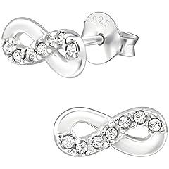Idea Regalo - JAYARE infinity Infinito bambini-Orecchini in argento Sterling 925con 14bianchi cristalli Swarovski Elements Glitter Eternity-Orecchini da Bambina