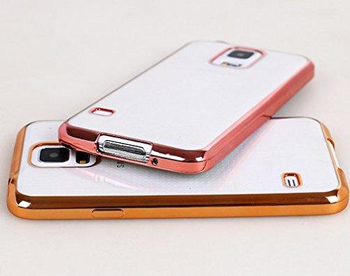 Galaxy S5 Hülle, Luxus Stilvoll Entwurf Electroplated Slim Fit Leichte ultra dünnen metallischen Glanz TPU Abdeckung Hülle für Samsung Galaxy S5 - Rose Gold Rose Gold