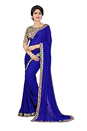 Oomph! Georgette Saree with Blouse Piece (rbaf_Berry Blue_Free Size)