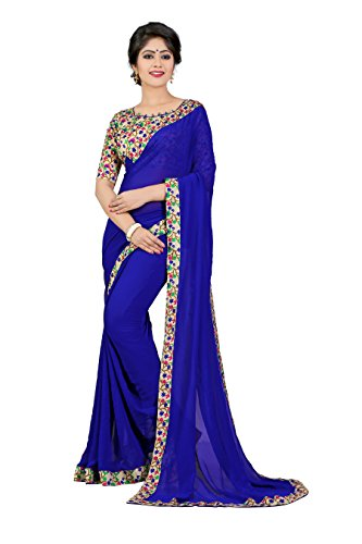 Oomph! Georgette Saree (Rbaf_1336_Berry Blue)
