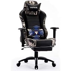 UOMAX Chaise Gaming Fauteuil Ergonomique pour Ordinateur Gamer Siege Racer Confortable avec Support Lombaire de Massage et Repose-Pieds. (Camo)