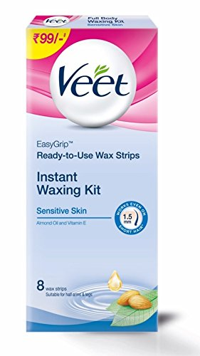 Veet Full Body Waxing Kit for Sensitive Skin - 20 Strips (Buy 2 Get 1 Free)