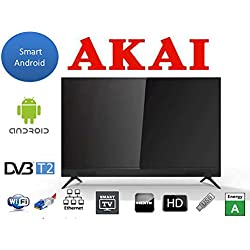 Akai Aktv3228, TV con Schermo LED da 32 Pollici Hd Smart Android, Soundbar Incorporata