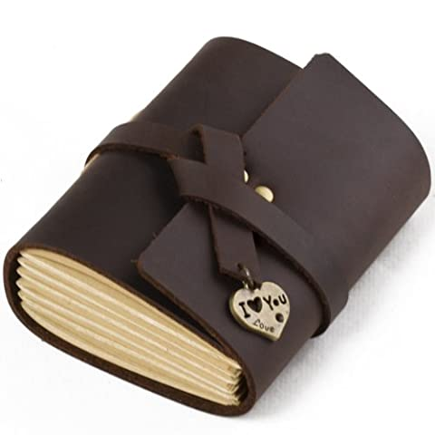 Pocket Leather Journal with Heart I Love You Handmade Blank Craft Paper Brown with Gift Box
