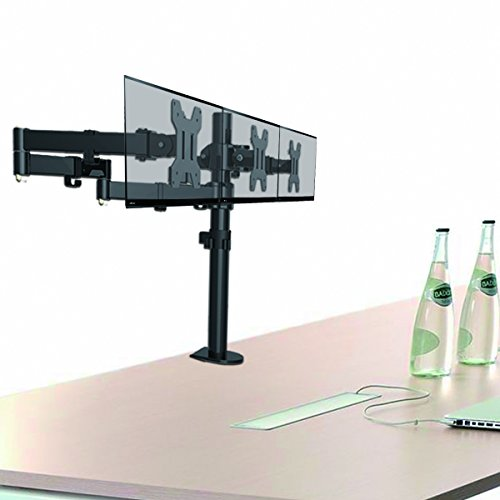 Suptek Fully variable Triple left arm Three LCD LED Monitor Desk holder Mount Bracket for 13 27 Screens by means of  15 Tilt 360 Rotation 180 Pull Out Swivel left arm Max VESA 100x100 MD6463 Monitor Arms Stands