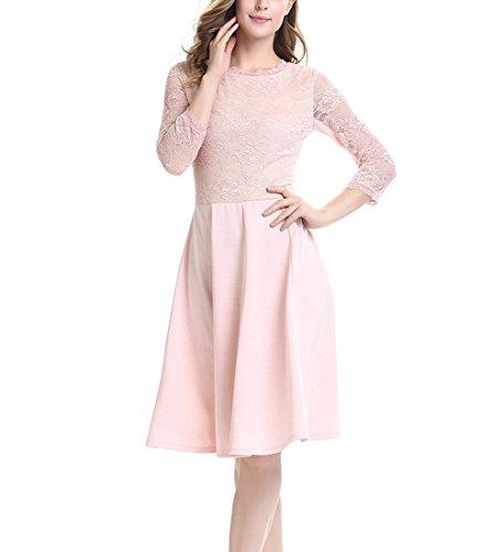U8Vision Damen Elegant Spitzenkleid Knielanges Vintage 50er Jahr Abendkleid Hochzeit Brautjungfer Kleider Rosa (Jahre 50er Rosa Kleid)