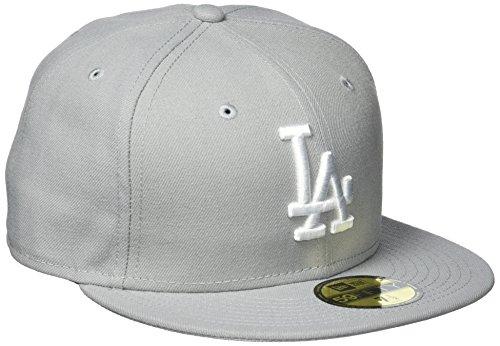 New Era Erwachsene Baseball Cap Mütze Mlb Basic LA Dodgers 59Fifty Fitted Grey/White, 7 1/2 -