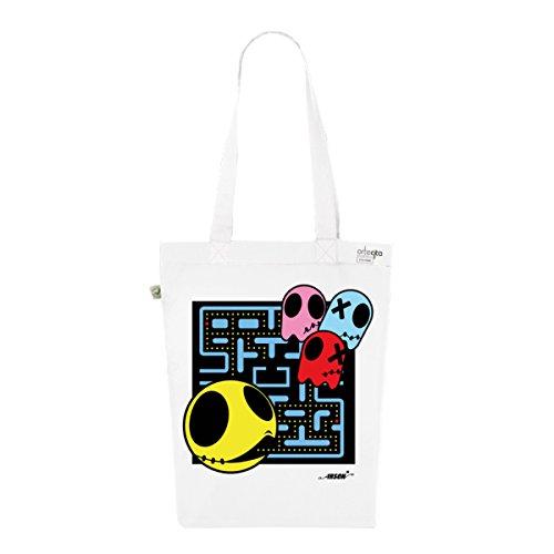 Tote Bag Blanc Imprimé - Toile en Coton Bio - Pacman