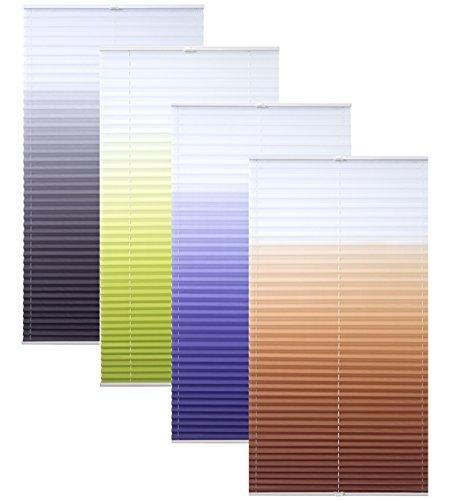 Garduna FLOW Plissee # braun 80cm # - mit FARBVERLAUF - verspannt - Smartfix - Klemmfix - ohne bohren - viele Größen - Sichtschutz - lichtdurchlässig