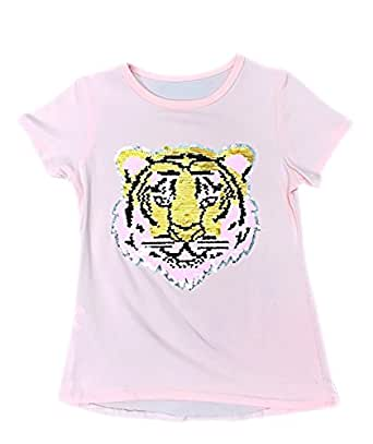 Girls emoji emoticon tiger face t shirt tee top brush for Girls sequin t shirt