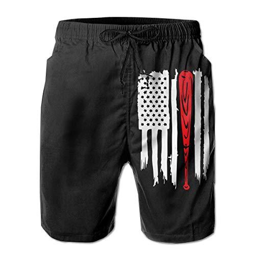 Feng Huang Amerikanische Flagge Baseballschläger Herren Holiday Party Beach Board Shorts für Herren Jungen XL