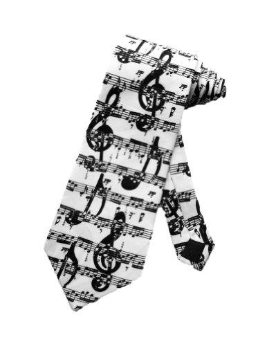 Steven Harris Musikalisch Noten Symbole Krawatte - weiß - Einheitsgröße