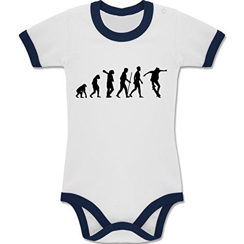 Skateboard-baby-kleidung (Shirtracer Evolution Baby - Skateboard Evolution - 3-6 Monate - Weiß/Navy Blau - BZ19 - Zweifarbiger Baby Strampler für Jungen und Mädchen)