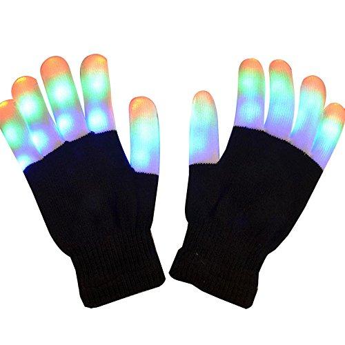 (Pawaca Leuchten Handschuhe, Unisex Bunte und 7 Mode LED Rave Blinklicht Glow Finger Handschuhe LED Handschuhe für Clubs, Festivals, Party, Sport, Raves (1 Paar))