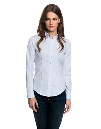 EMBRÆR Damen Bluse Tailliert 100% Baumwolle Bügelfrei mit Kontrasteinlage Langarm Hemdbluse Elegant Festlich Kent-Kragen Auch für Business und Unter Pullover Eisblau 36