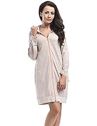 dn-nightwear Damen Bademantel / Morgenmantel mit Kapuze mit hohem Baumwollanteil