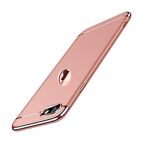 iPhone 8 Hülle Case, 3-Teilige Extra Dünn Hart Slim Thin Hard Case Cover Stylich Hochwertig Schutzhülle Schale Handy Hülle für Apple iPhone 8 [3 in 1 Apple Logo sichtbar] (iPhone 8, Roségold) Hard Case Cover