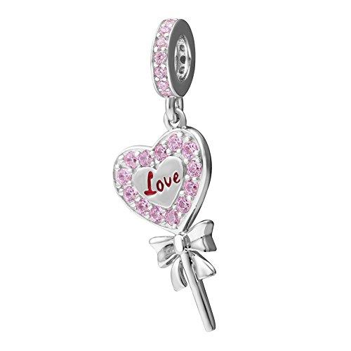 Love fairy wand ciondoli ciondolo con zirconi rosa in argento sterling 925magic princess tinkerbell pendenti perline per braccialetti snake di stile europeo collane