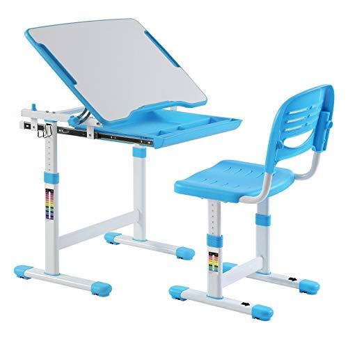 IDIMEX Kinderschreibtisch ALUMNO mit Stuhl und Schublade, Schreibtisch für Kinder und Schüler Schülerschreibtisch Set, höhenverstellbar, inklusive Stuhl, blau