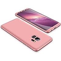 LaiXin Caja del Teléfono para el Samsung Galaxy S9 Plus, Cubierta de 360°Caja Protectora PC Shell Duro Cubierta de la Caja del Teléfono Anti-Shock A Prueba de Choques Ultra Silm en Premium PC (3 en 1) - Rosa
