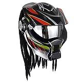 Yetoukui Persönlichkeit Cool Predator Motorradhelm,Alien Warrior Dekorative Lampe Integralhelm Mit...