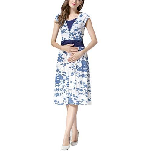 SOMESUN Elegante Mutterschaft Kleid Temperament Antiken Blauen Und Weißen Porzellanfarbe Schwangere Frauen ärmellos Geschichteten Blumendruck Stillen Pyjama Baby Praktische Fütterung Kleid