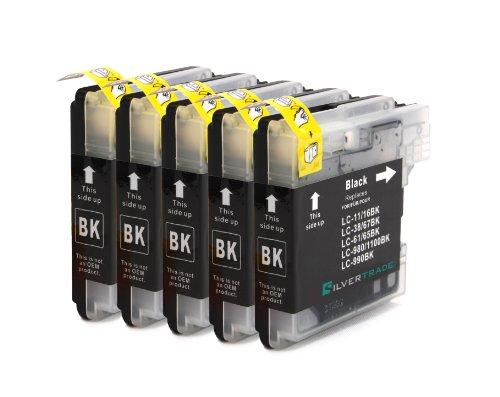 5x schwarz LC1100BK LC980BK Patronen kompatibel zu Brother für Brother MFC-250C MFC-255CW MFC-290C MFC-295CN MFC-297C MFC-490CN MFC-5490CN MFC-5890CN MFC-790CW MFC-795CW MFC-6490CW MFC-6890CDW MFC-990CW DCP-145C DCP-163C DCP-165C DCP-167C DCP-185C DCP-195C DCP-365CN DCP-373CW DCP-375CW DCP-377CW DCP-383C DCP-385C DCP-J715W