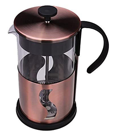 Gourmet 1 Liter Matte Copper French Press Coffee Brewer with S Shaped Design