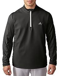 adidas 2016Climastorm Hybrid heathered Jersey de cremallera de 1/4–Resistente al agua chaqueta de Golf, hombre, color negro y piedra, tamaño medium