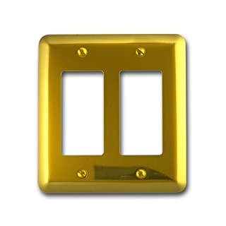 Amerelle 155RR Decorative Steel Round Corner Double Rocker/GFCI Wallplate, Bright Brass