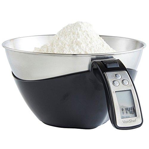 VonShef Bilancia elettronica digitale da cucina a brocca da 5 kg – Acciaio inox