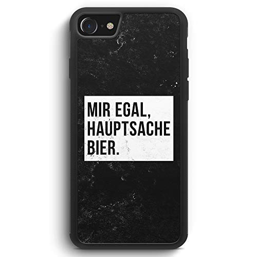 Mir Egal Hauptsache Bier - iPhone 8 SILIKON Hülle Cover - Motiv Design Cool Witzig Lustig Spruch Zitat Grunge - Handyhülle Schutzhülle Case Schale
