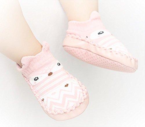 6-12 Monate Baby Schuhe Söckchen Krabbelschuhe Socken Lauflernschuhe Rosa Geschenk Geburt - Sechs Söckchen