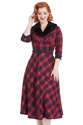 Voodoo Vixen Bettie Plaid Check Vintage Retro 50er Faux Pelz Abendkleid - Rot & Schwarz (XXL - DE 42)