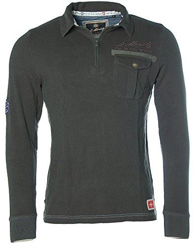 St. Moritz Herren Langarm Shirt Poloshirt Polokragen Pikee FIS Alpine Ski Dark Olive
