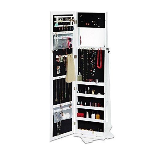 Relaxdays Schmuckschrank weiß mit Spiegel, XXL-Schmuckkasten abschließbar, Spiegelschrank zum Drehen HBT: 161x39,5x40cm