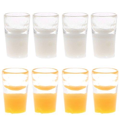 Puppenhaus Miniatur Milch Tasse Milchglas & Orangensaft Gläser Tassen Set ( Orange & Weiß ) (Milchglas-tassen)