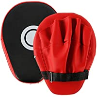 Beetest uk 1 Pair MMA Focus Punch Mitts PU Leather Kicking Palm Pads Taekwondo Training Boxing Target Pad with Adjustable Strap