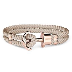 PAUL HEWITT Anker Armband Damen PHREP – Segeltau Armband Frauen (Braun), Armband Damen mit Anker Schmuck aus IP-Edelstahl (Rosegold)