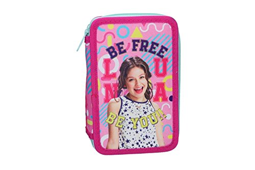 Soy luna astuccio scuola rosa triplo 3 zip completo di accessori vz585