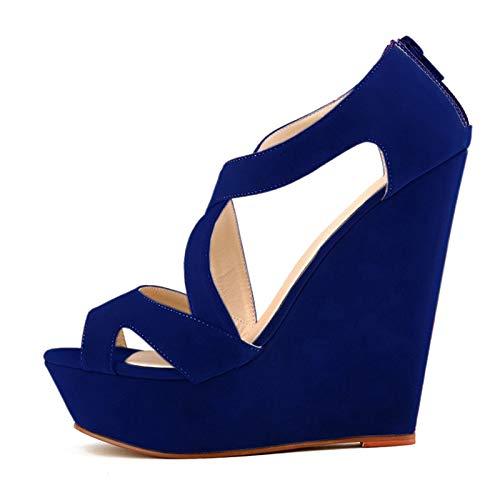 sandales a talons hauts - TOOGOO(R)sandales a talons hauts avec plate-forme courtes decontractees chaussures a talons hauts de mariage chaussures bout ouvert bottines pour femmes dames Bleues 40