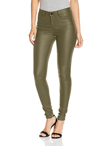VILA CLOTHES Damen Hose Vicommit RW New Coated-Noos, Grün (Ivy Green), 38 (Herstellergröße: M)